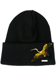 Dsquared2 Embroidered Bird Beanie Black