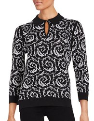 Karl Lagerfeld Patterned Knit Button Neck Sweater Black White
