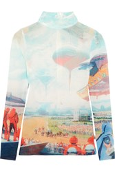 Opening Ceremony Syd Printed Stretch Mesh Top Sky Blue