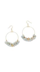 Kenneth Jay Lane Beaded Hoop Earrings Green