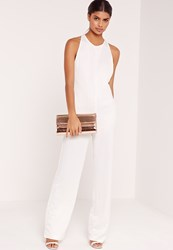 Missguided Crepe Sleeveless Wide Leg Jumpsuit White Champagne