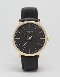 Asos Watch With Leather Strap In Black Black