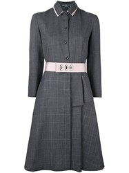 Salvatore Ferragamo Belted Shirt Dress Grey