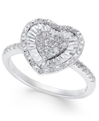Macy's Diamond Heart Miracle Plate Ring 3 8 Ct. T.W. In 14K White Gold
