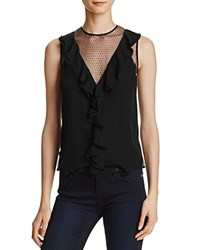 Chelsea And Walker Ruffle Mesh Silk Tank Black