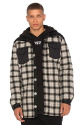 Off White Quilted Flannel Button Down Black