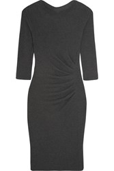 Max Mara Jumbo Gathered Stretch Jersey Dress Charcoal
