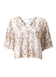 Miss Selfridge Floral Lace Up Back Tee Multi Coloured