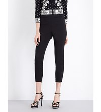 Alexander Mcqueen Cropped Stretch Wool Leggings Blk