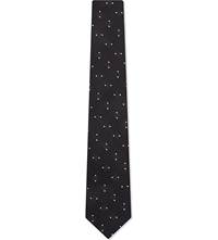 Peckham Rye Square Dot Silk Tie Light Grey