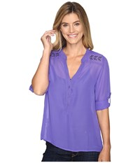 Cruel Long Sleeve Chiffon Roll Tab Sleeve Top Purple Women's Long Sleeve Pullover
