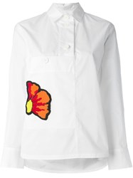 Marni Embroidered Flower Shirt White