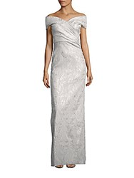 Teri Jon Off The Shoulder Solid Gown Silver