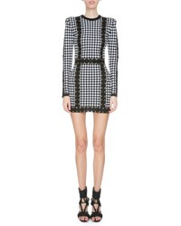 Balmain Long Sleeve Harlequin Print Mini Dress Black White