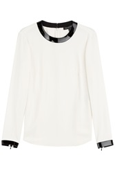Ralph Lauren Black Label Blouse With Patent Leather Trims White