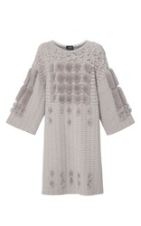 Alena Akhmadullina Knit Tunic With Three Dimensional Mink Details Light Grey
