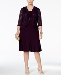 R And M Richards Plus Size Ruffled A Line Dress Metallic Lace Jacket Plum