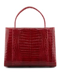 A Frame Expandable Crocodile Tote Bag Red Nancy Gonzalez