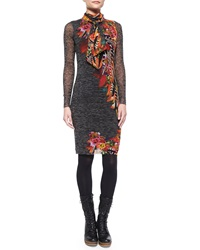 Fuzzi Long Sleeve Feather Print Dress W Scarf