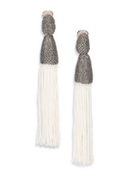Oscar De La Renta Long Silk Tassel Clip On Earrings Ivory