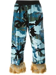 Ashish Fur Trimmed Sequined Trousers Blue