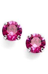 Women's L. Erickson 'Grace' Crystal Stud Earrings Fuchsia Silver