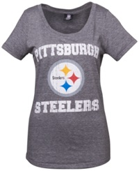 5Th And Ocean Women's Pittsburgh Steelers Tri Natural Jersey T Shirt Black