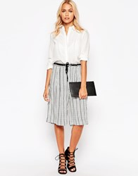 B.Young Striped Culottes Off White