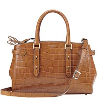 Aspinal Of London Brook Street Crocodile Embossed Leather Bag Tan
