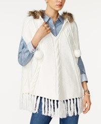 Tommy Hilfiger Ingrid Faux Fur Trim Hooded Poncho Only At Macy's Snow White