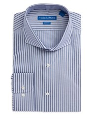Vince Camuto Striped Cotton Dress Shirt Blue