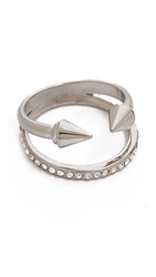 Vita Fede Titan Plain Crystal Band Ring Silver Clear