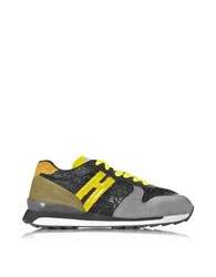 Hogan Rebel Running R261 Yellow Patent Leather Lurex And High Tech Fabric Women's Sneaker Graphite