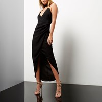 River Island Womens Black Ruched Wrap Maxi Dress