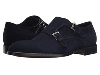 Gravati Velukid Plain Toe Double Monk Strap Navy