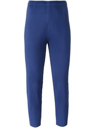 Issey Miyake Cauliflower Pleated Tapered Cropped Trousers Blue