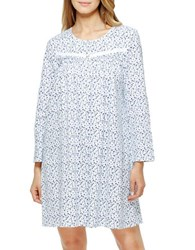 Eileen West Long Sleeve Printed Ballet Gown Blue