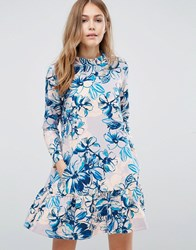 Closet London Drop Waist Long Sleeve Floral Dress Peach And Blue Multi