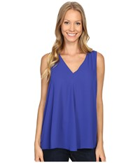 Vince Camuto Sleeveless V Neck Drape Front Blouse Optic Blue Women's Blouse