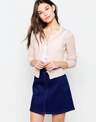 Yumi Button Front Cardigan Soft Pink