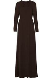Valentino Pleated Silk Crepe Gown Dark Brown