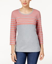 Karen Scott Striped Colorblocked Top Only At Macy's Coral Tile