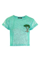 Kuccia Iridescent Palm Tree Top By Turquoise