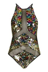 Rainbow Sequin Panelled Swimsuit By Jaded London Multi