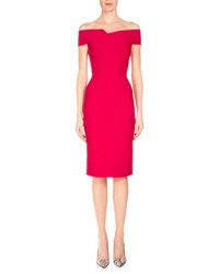 Roland Mouret Folded Off The Shoulder Sheath Dress Raspberry