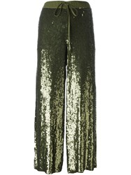 P.A.R.O.S.H. Drawstring Sequined Cropped Trousers Green
