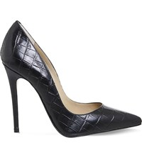 Office Betty Croc Embossed Leather Courts Black Croc