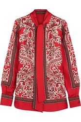 Alexander Mcqueen Paisley Print Silk Twill Blouse Red