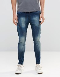 Dead Vintage Jogger Jeans With Two Zips And Two Pockets Blue
