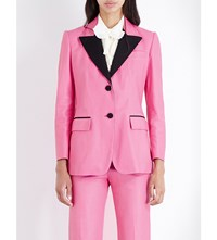 Gucci Contrast Lapel Leather Tuxedo Jacket Pink